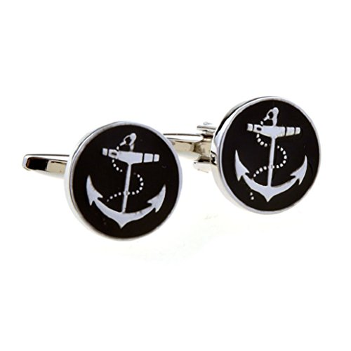(MRCUFF Anchor USN Pair Cufflinks in a Presentation Gift Box & Polishing Cloth)