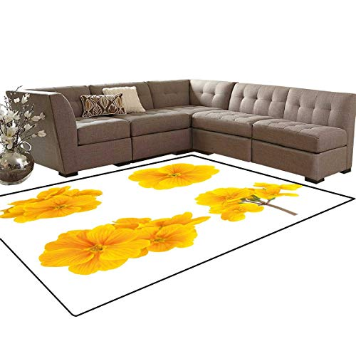 - Yellow Flower Anti-Skid Area Rugs Gardening Themed Collection with Little Tender Primrose Primula Blossoms Customize Door mats for Home Mat 6'x8' Mustard White