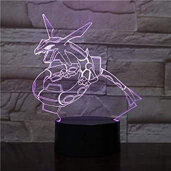 3D-1082 Pokemon Rayquaza 3D LED luz de noche dibujos animados personaje de anime juguete para niños regalo de cumpleaños