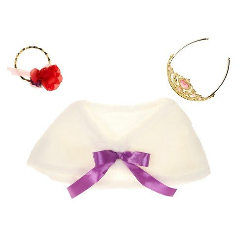 Vi and Va Party Dress up Accessory Set Fluffy Costume Faux Fur Shawl, Gold Tiara and Bracklet ()