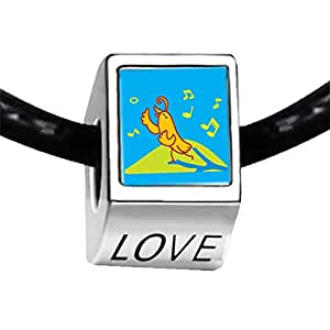 Chicforest Silver Plated Singing Chirping Bird Photo LOVE Charm Beads Fits Pandora Charms