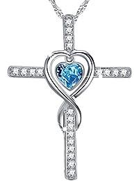 March Birthstone Love Infinity God Cross Necklace Jewelry Birthday Gifts for Women Sterling Swarovski