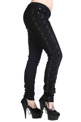 Banned Gothic Rockabilly Steampunk Cyber Black Side Corset Skinny Jeans Pants (28 - - Jeans Banned
