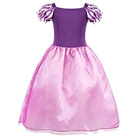 - 41QWsSFRjLL - Cotrio Rapunzel Dress Up for Girls Halloween Princess Costume Birthday Theme Party Dresses