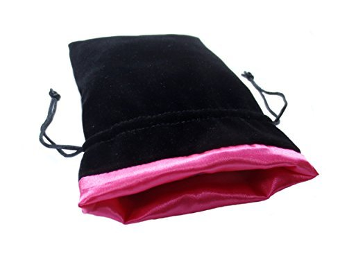 Pink Satin Lining (5x8 Princess Pink Premium Black Velvet Dice Bag with Strong Pink Satin Lining (Dice Bag Capacity is 15 Sets / 100 Dice / 1 Pound of Dice))