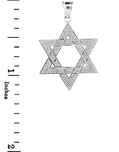 """10 ct 471/1000 Or Blanc Juifr etoile de David Pendentif (M) 1,25 """"(Livre Avec un 18"""" Chaine)"""