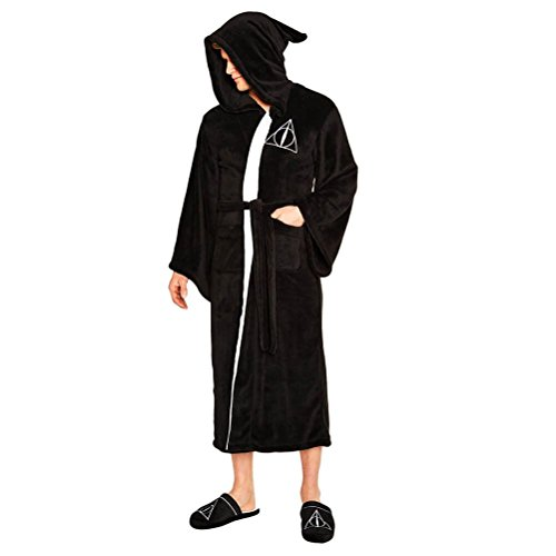 Harry Potter Official Deathly Hallows Adult Fleece Dressing Gown - One Size -