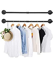 2 Pack Clothing Rack Wall Mount, Industrial Pipe Clothing Rack 38.4IN,Elibbren Hanging Clothes Rack,Heavy Duty Iron Garment Rack Bar for Closet,Laundry Room, Multi Purpose Hanging Rod,Black