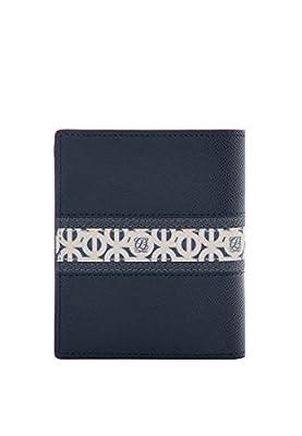 LQ LOUIS QUATORZE Slim Navy Leather Bifold Secretary Wallet for Business Men SM1NH71NA One Size