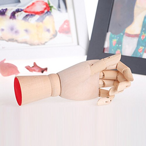 Greatstar 12'' Art Mannequin Hand,Wooden Flexible Left/Right Hand for Home Office Desk Joints Kids Children Toys Gift For Drawing, Sketching, Painting Etc (left Hand) by Greatstar