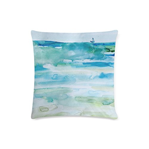 Custom Miami Beach Watercolor Cushion Cases Zippered Throw Pillow Covers 16 by 16 -