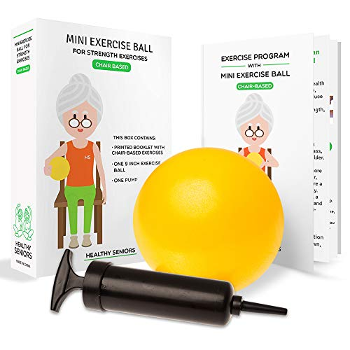 Healthy Seniors Chair Exercise Program with Mini Exercise Ball, Pump and Printed Exercise Guide. Ideal for Rehab or Physical Therapy for a Grandparent