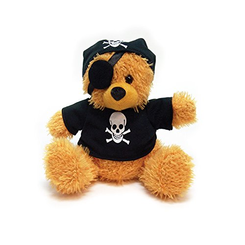 Plush Teddy Bear Pirate Stuffed Animal Toys For Kids - 5 Assorted Colors Available - Stuffed Bears (Brown)