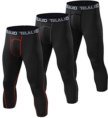 fcd1142b8b587e TELALEO Men's Compression Pants Cool Dry Gym Workout Running Leggings  Baselayer Sports Black/Grey/Red 3/4Tights-M