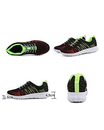 Cordones Superior Viajes Aire Universidad La Zapatos Colorido Zapatos de Transpirable Libre Aire Al Adolescentes de Verde Malla con de Negro Mujeres Running Amortiguador wqxtZOU0Hn