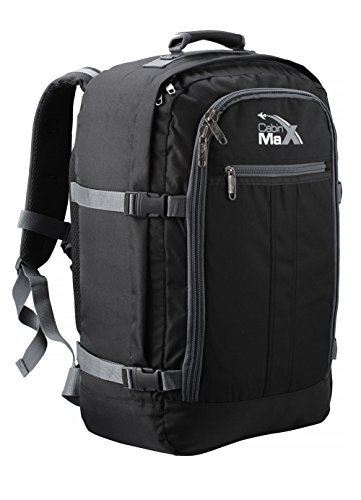 Cabin Max️ Metz Backpack for Men and Women Flight Approved Carry On Luggage Bag Massive 44 Litre Travel Hand Luggage 22x14x9 - Perfectly Sized for Southwest Airlines and Many More! (Black/Grey)