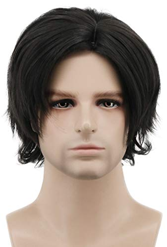Karlery Mens Short Bob Curly Black Wig Halloween Costume Wig Party Cosplay Anime Wig