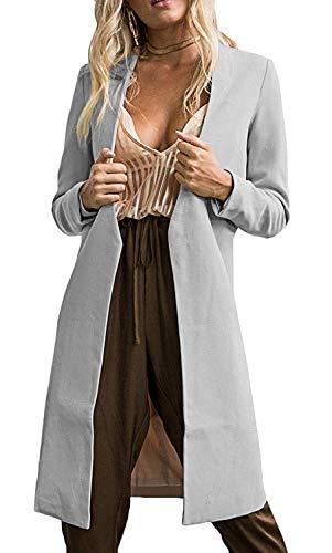 Cuello Exteriores Color Sólido Invierno Mujer De Stand Retro Caliente Transición Manga Moda Gabardinas Grau Parka Larga Prendas Abrigo RxwH0Wfa