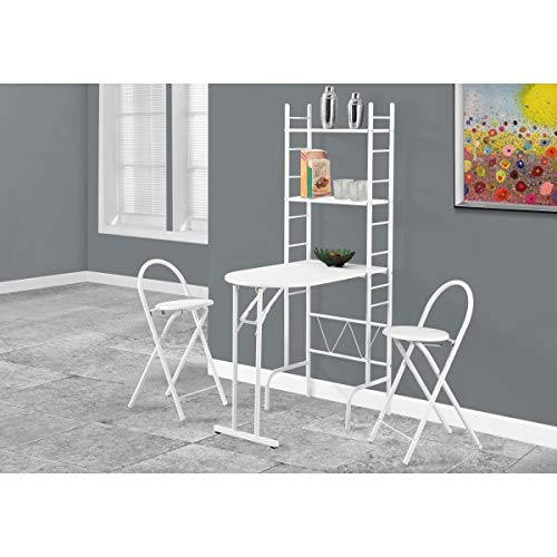 3 Piece Folding Table and Chairs Set Storage Shelves White Metal Compact Stools Space Saving Home Furniture Kitchen Dorm Dining Room