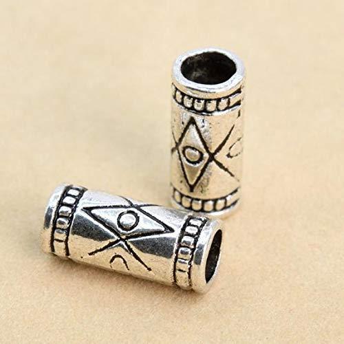 Bead Tube Round 4x13mm (10 Pcs - 13x6MM Antique Silver Tone Round Tube Spacer Beads (62514-2286) #YBL_19517)