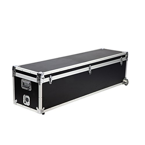 (Vispronet Black Utility Trunk, 63in x 16in x 16in Road Case, Made with Fireproof Plastic Wood, Aluminum Frame with Chromed Corners, 5mm Black PVC Foam Interior, Holds up to)