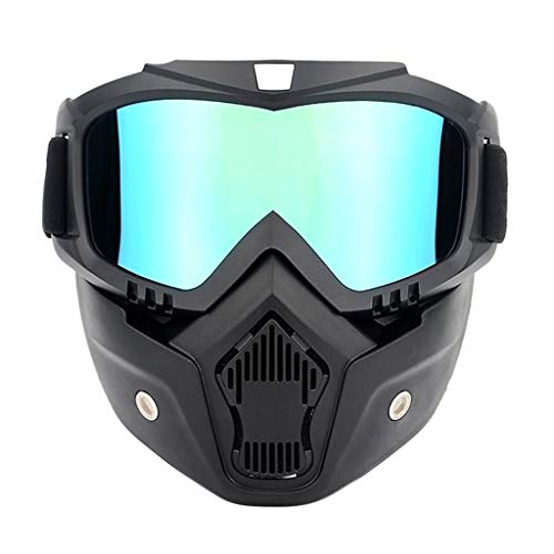 Professional Motorcycle Helmet Goggles, Detachable Dust Mask, Fog-proof Warm Goggles Mouth Filter Adjustable Non-slip Strap Classic Face Mask for Fight Snowmobiling Motocross Dirt Bike (Blue) ()