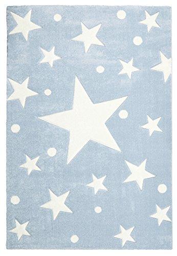 Kinderteppich STERNE blau/weiß 120x180 cm