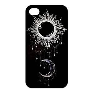 Sun and Moon Design Solid Rubber Customized Cover Case for iPhone 4 4s 4s-linda6