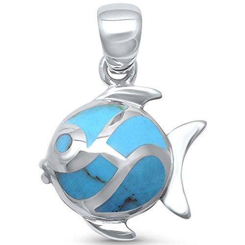 Diamond Fish Charm - Oxford Diamond Co Sterling Silver Simulated Turquoise Fish Charm Pendant