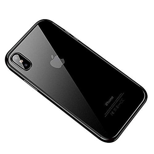 iPhone x 10ケース、クリアTpu超薄型めっき保護バンパーカバーiphonex半分 ブラック