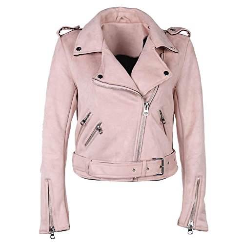Powlance Jackets for Women Solid Color Winter Turn Down Collar Zipper Suede Short Jacket Coat Pink