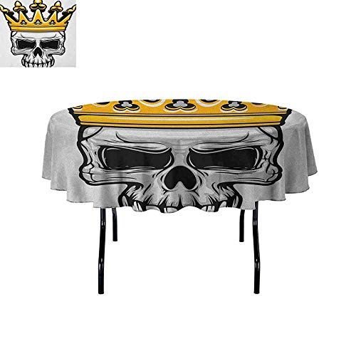 Douglas Hill King Easy Care Leakproof and Durable Tablecloth Hand Drawn Crowned Skull Cranium with Coronet Tiara Halloween Themed Image Outdoor Picnic D55 Inch Golden and Pale Grey]()