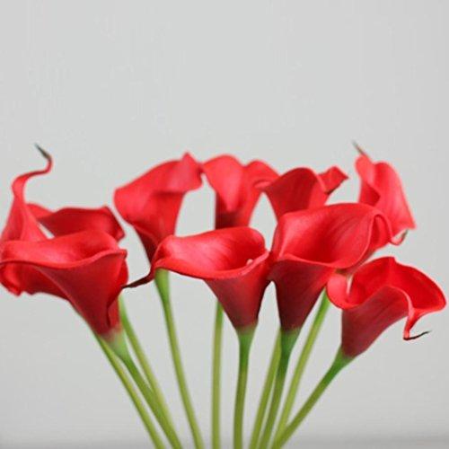 Orangeskycn Lily Artificial Flowers, 10Pcs Mini Artificial Calla Wedding Flowers Bouquet Calla Lily Foam Decor (red)