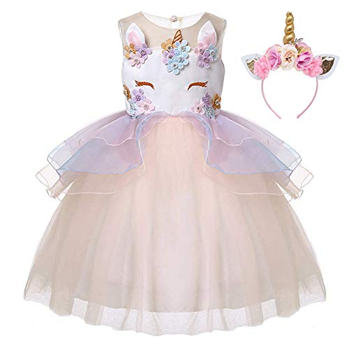 Kids Girls Flower Tulle Birthday Unicorn Toddler Mythical Costume Cosplay Baby Girl Pageant Tutu Princess Dress up Teen Cute Unicorn Headband Party Gown Outfits 5-6 Years (Champagne & Headband, -