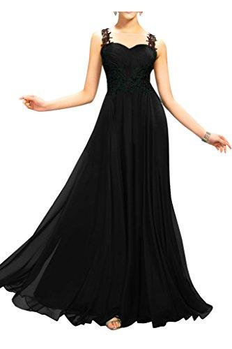 sunvary de raso y de encaje Sheer espalda Vestido Dama de honor para Boda invitados negro