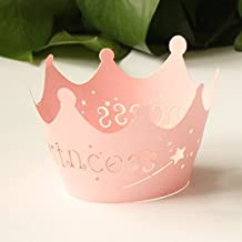 HAWORTHS 24pcs Pink Princess Crown Cupcake Wrappers Cases Wedding Christening Baby Girl Shower Party Cake Decoration