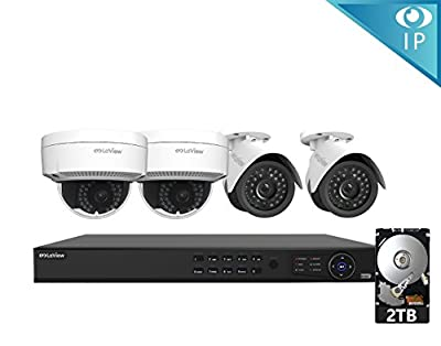 LaView 4 1080P IP Camera Security System, 8 Channel 1080P IP PoE NVR w/2TB HDD and 2 White Bullet & 2 White Dome 1080P 2MP Surveillance Camera Kit from LaView