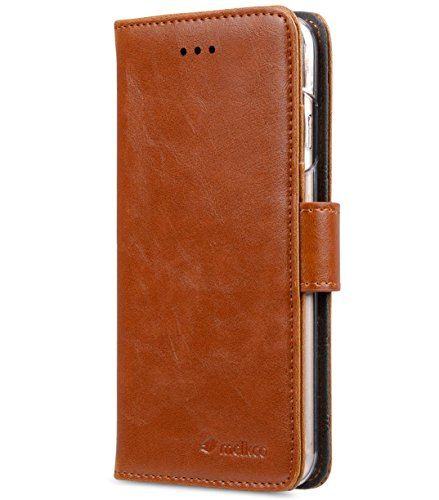 """Melkco Mini PU Leather Case for Apple iPhone 6s Plus / 6 Plus (5.5"""") - Wallet Book Clear Type (Brown PU) - LF1831"""