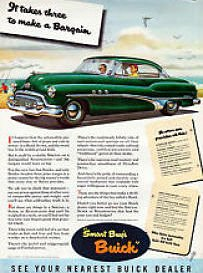 "1951 BUICK SUPER RIVIERA 2-Door HARDTOP ""It Takes Three to Make a Bargain"" LARGE ORIGINAL COLOR AD - USA - NICE !!"