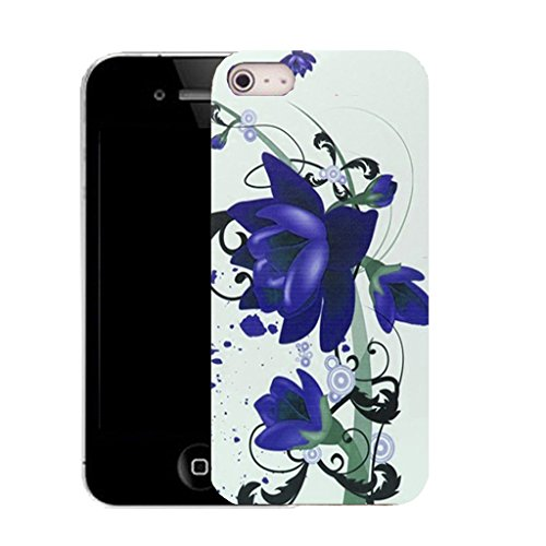 Mobile Case Mate IPhone 4s clip on Silicone Coque couverture case cover Pare-chocs + STYLET - blue floral bloom pattern (SILICON)