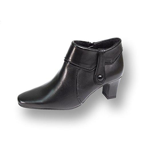 Peerage FIC Blair Women Wide Width Fur Lined Leather Dress Ankle Boots Black