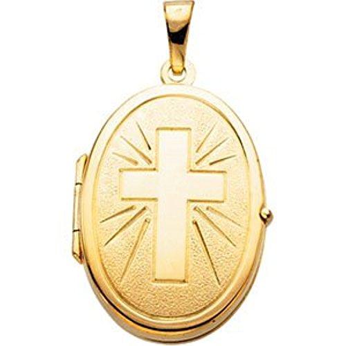 Shaped Locket With Cross (Gold Oval Cross Locket)