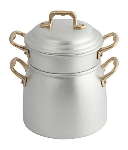 "Ottinetti 1.5 L ""Donna"" Brushed Aluminium Double Boiler Bain-Marie, Small, Silver"