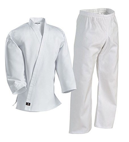 Century Karate Martial Arts Uniform with Belt Light Weight White Cotton Elastic Waistband & Drawstring for Adult & Children Size 000 - 7 (Size 2 90-110lb 4ft 8in - 5ft 1 in)