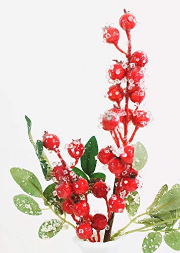 Frosted Red Artificial Sugared Berry Pick - 14