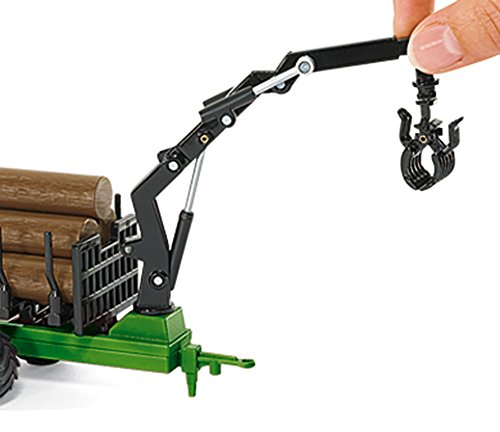 1:50 Siku John Deere Tractor With Forestry Trailer Model