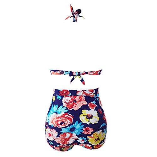 Mujer 50 's Retro Rockabilly Floral Cintura alta traje de baño Bikini Color