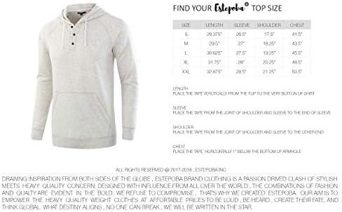 Estepoba Men's Casual Long Sleeve Henley Sweatshirt Knit Fleece Hoodie Pullover