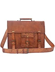 18 Inch Leather Vintage Rustic Crossbody Messenger Courier Satchel Bag Gift Men Women ~ Business Work Briefcase...