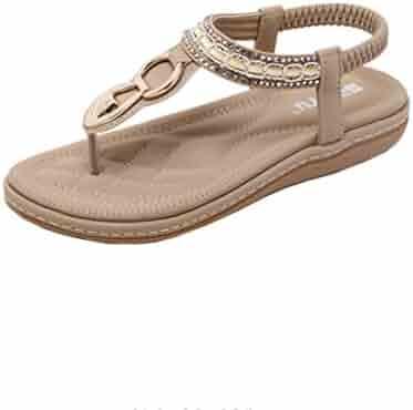 6e163a1db16be RAISINGTOP Summer Flat Sandals Ladies Bohemia Beach Flip Flops Shoes Thong  Clip Toe Leather Elastic Strap